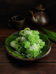 Putu Cake. Tradisional cake from Indonesia. Made from rice flour with brown sugar fillin.