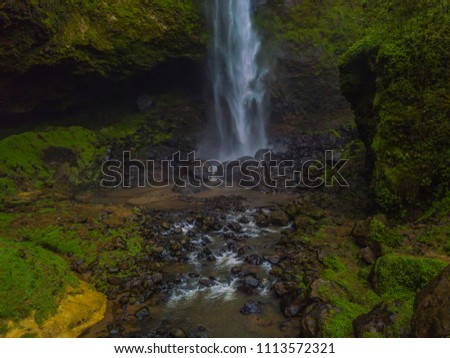 Puxtla's impressive waterfall in a day full of haze and surrounded by the green and humid forest near the town of Tlatlauquitepec in the state of Puebla #1113572321
