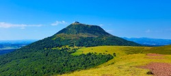 Puy de Dome- Auvergne in France- Volcanic landscape and blue sky