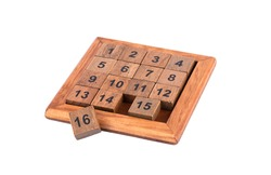 Puzzle 15 (also called Game of Fifteen) is a sliding puzzle game. The goal of the puzzle is to arrange the tiles in order by performing sliding movements that use empty space. 16 cube is not used.