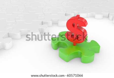 Puzzle and dollar sign on a white background