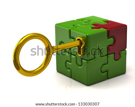 Puzzle cube with golden key