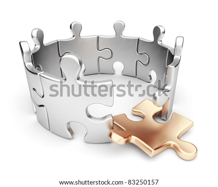 Puzzle 3d isolated. Weak link