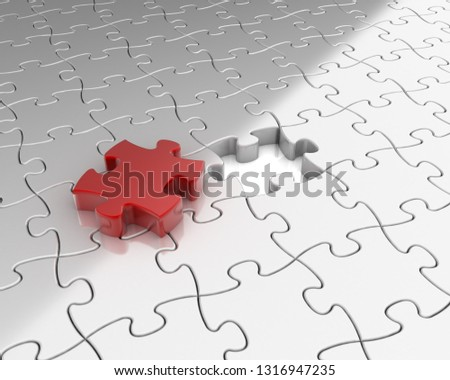 Puzzle. 3D rendering illustration