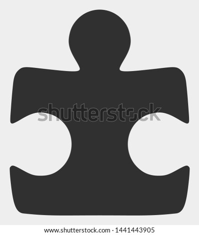 Puzzle element raster pictograph. Illustration contains flat puzzle element iconic symbol isolated on a white background.