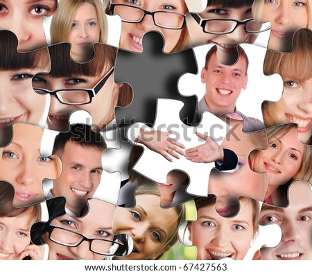 Puzzle from different human faces in close-up