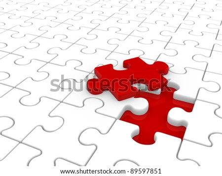 Puzzle game ( jigsaw ).  This is a 3d render illustration