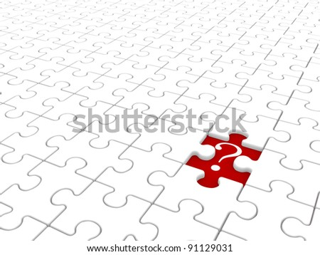 Puzzle game with a missing piece and question mark. Jigsaw. 3d render illustration - stock photo