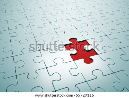 Puzzle game with missing piece- this is a 3d render illustration