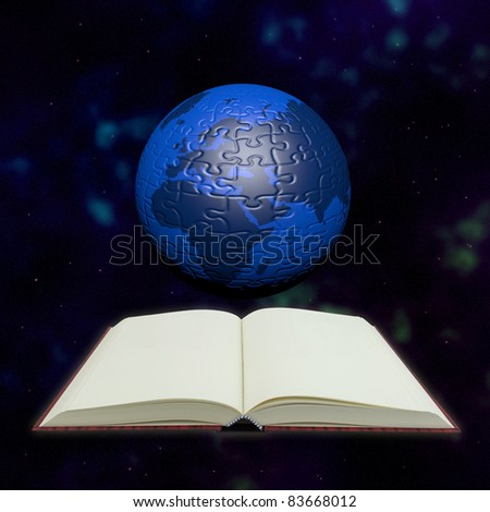 Puzzle globe and book in universe for education and learning concept