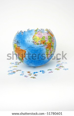 Puzzle globe on white background