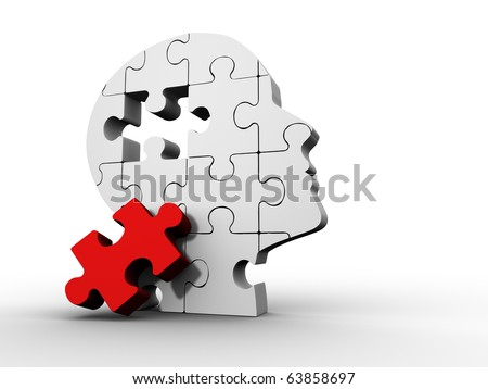 Puzzle head - this is a 3d render illustration