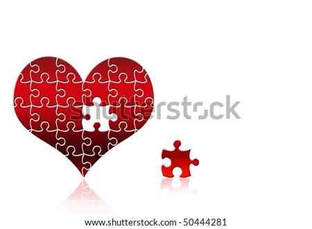puzzle heart - stock photo