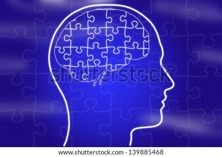 Puzzle in head on blue