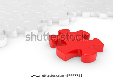 puzzle in pieces over a white background