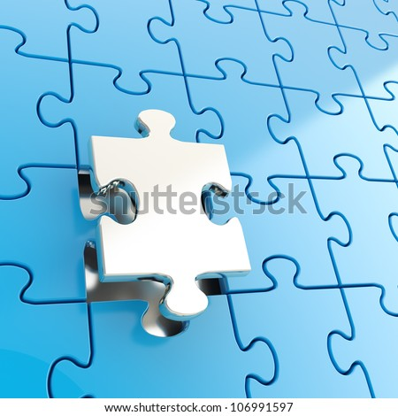 Puzzle jigsaw blue background with one shiny metal piece stand out