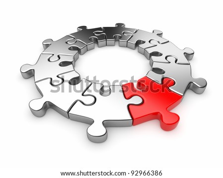 Puzzle jigsaw ring 3D. Innovation concept. Isolated on white background