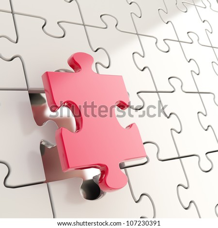 Puzzle jigsaw shiny metal background with one red piece stand out