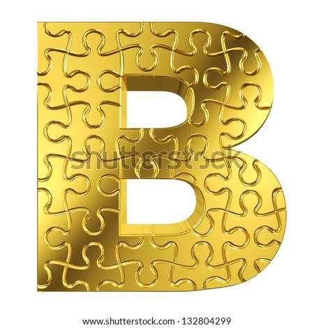 B Letter In Gold puzzle letter B in gold metal