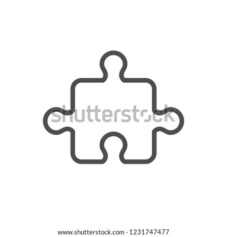 Puzzle line icon isolated on white