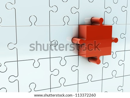 Puzzle metal with red nose piece