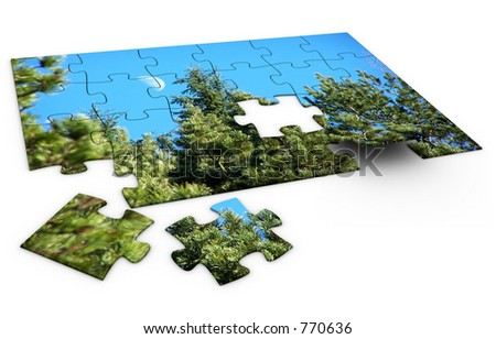 Puzzle of nature. - stock photo