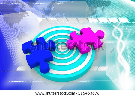 Puzzle on target - stock photo