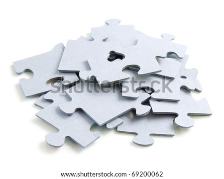 puzzle or jigsaw on whote