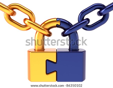 Puzzle padlock closed lock with chain colored golden blue. Security access password hold concept. Secret code still encryption abstract. Detailed 3d render. Isolated on white background