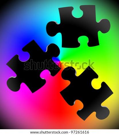 Puzzle piece color - stock photo