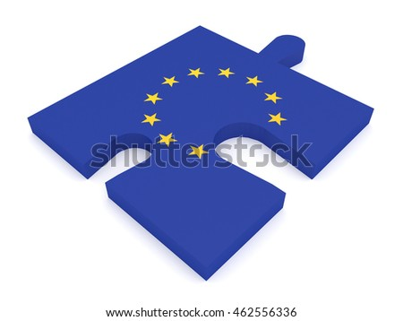 Puzzle Piece EU Flag Missing Stars, 3d illustration #462556336