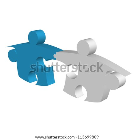 Puzzle pieces shaking hands and connecting metaphor