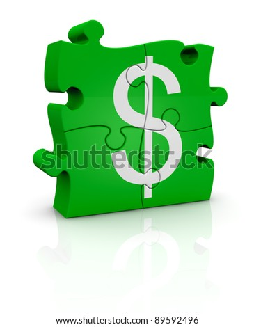 puzzle pieces that form the symbol of dollar currency (3d render)