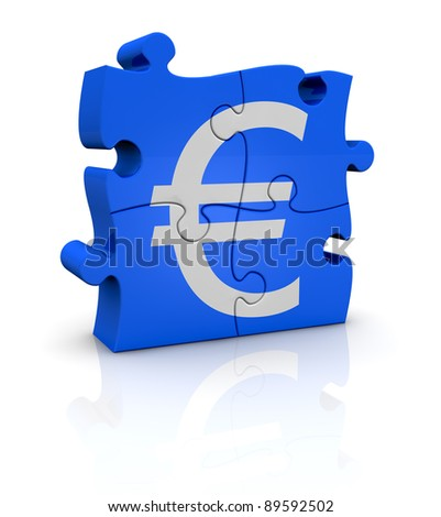 puzzle pieces that form the symbol of euro currency (3d render)