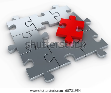 Puzzle pieces, with a red piece free