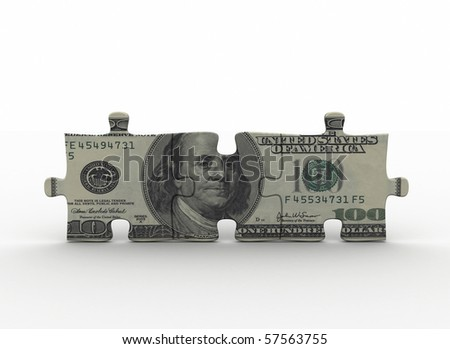 Puzzle pieces with money texture