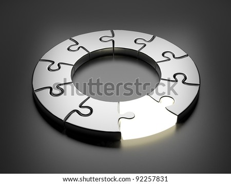 Puzzle ring 3D. Innovation concept. On gray background