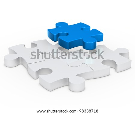puzzle sign with one blue out - stock photo