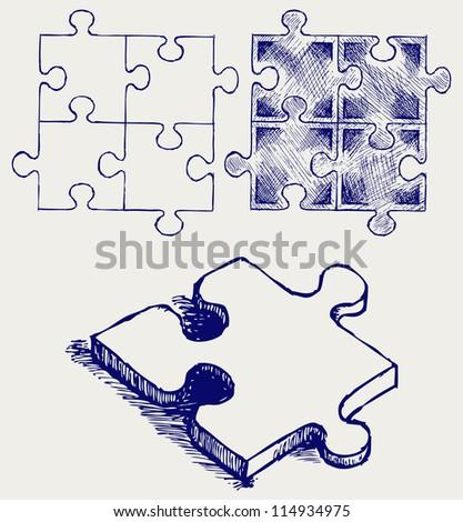 Puzzle sketch. Raster version