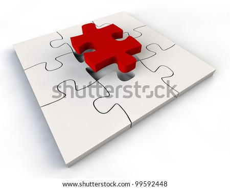 Puzzle solution red color Jigsaw Piece white background