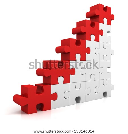 puzzle success financial bar chart graph