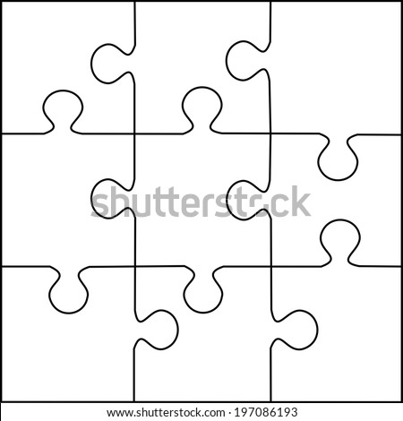 royalty free puzzle template 9 pieces vector 197086202 stock photo
