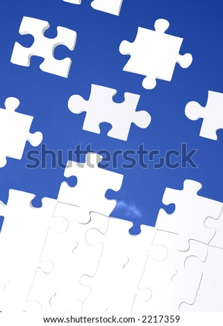 puzzle with a blue sky in the background