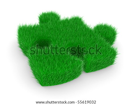 puzzle with green grass on a white background