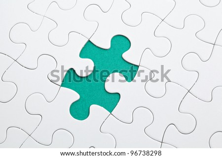 puzzle with green piece missed