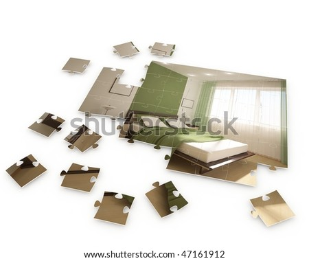 puzzle with interior image - stock photo
