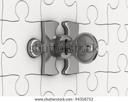Puzzle with key. 3D image - stock photo