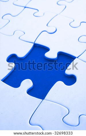 puzzle with missing piece showing concept for problem and solution