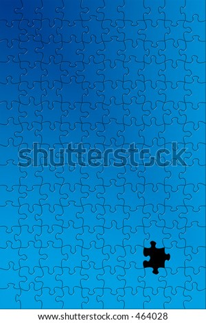 Puzzle with one piece missing.