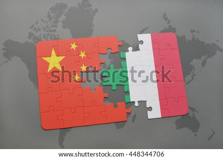 puzzle with the national flag of china and italy on a world map background. 3D illustration